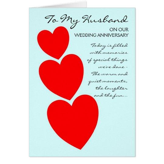 Happy Wedding Anniversary Husband Hearts Card