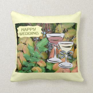 Happy Wedding, champagne toast Cushions