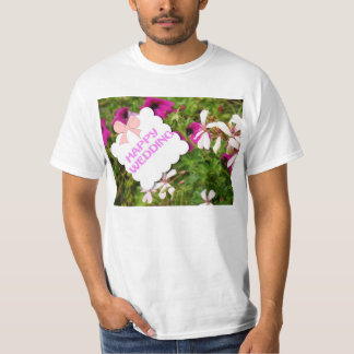 Happy wedding, flowers and bow tee shirts