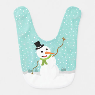 Happy Whimsical Snowman on Snowy Christmas Day Bib