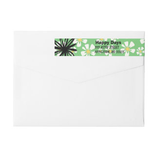 Happy white flowers on green background wrap around label