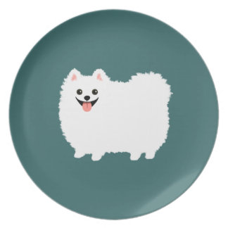 Happy White Pomeranian Dinner Plates
