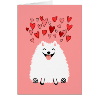 Happy White Pomeranian Valentine Love Card