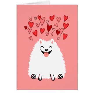 Happy White Pomeranian Valentine Love Greeting Card