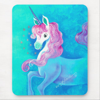 Happy White Unicorn Mouse Mat