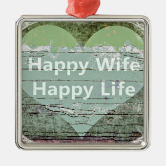 Happy Wife Happy Life by Kaye Talvilahti Silver-Colored Square Decoration