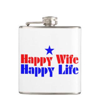 Happy Wife Happy Life Hip Flask