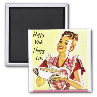 Happy Wife Happy Life Square Magnet
