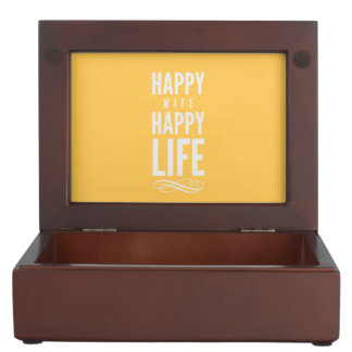 Happy Wife Happy Life Yellow Keepsake Box