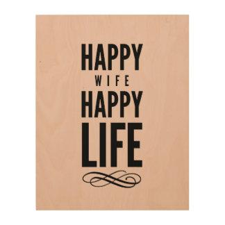 Happy Wife Typographic Quote Pink Wood Prints