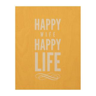 Happy Wife Typographic Quote Yellow Wood Print