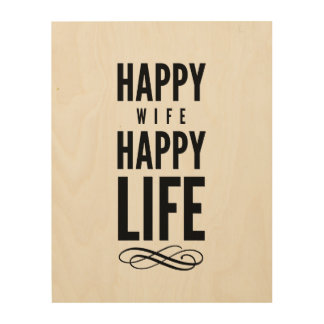 Happy Wife Typography Quotes White Wood Canvases