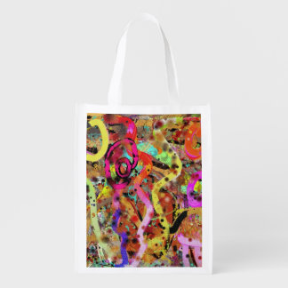 Happy Wiggly Abstract Reusable Grocery Bag