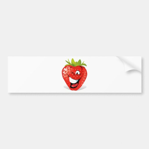 Happy Winking Strawberry Face Bumper Stickers