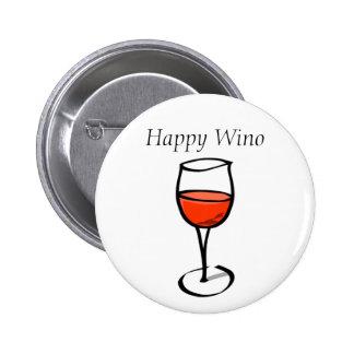 Happy Wino Funny Wine Drinking Quote 6 Cm Round Badge