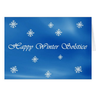 Happy Winter Solstice Sky and Snowflake Card