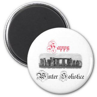 Happy Winter Solstice Stonehenge 6 Cm Round Magnet