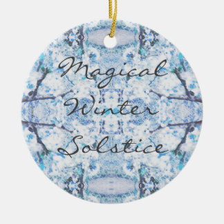 Happy Winter Solstice Yule Snow Christmas Ornament