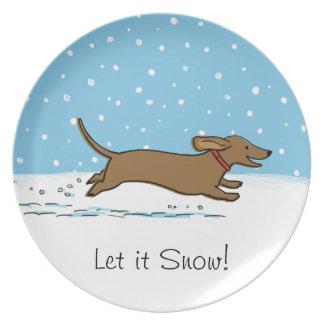 Happy Winter Wiener Dog - Dachshund Holiday Plate