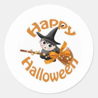 Happy Witch Round Sticker