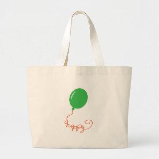 Happy with a green balloon jumbo tote bag