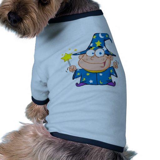 Happy Wizard Boy Waving With Magic Wand Dog T Shirt