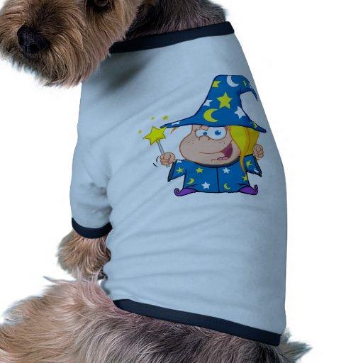 Happy Wizard Girl Waving With Magic Wand Dog T Shirt