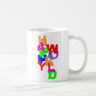 Happy World Basic White Mug