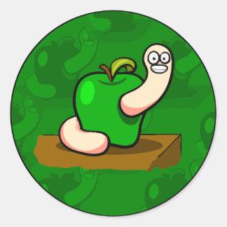 Happy Worm in Green Apple Round Sticker