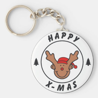 Happy x-mas annuitant with tree basic round button key ring