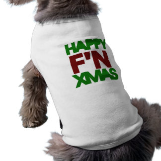 Happy Xmas humor Sleeveless Dog Shirt