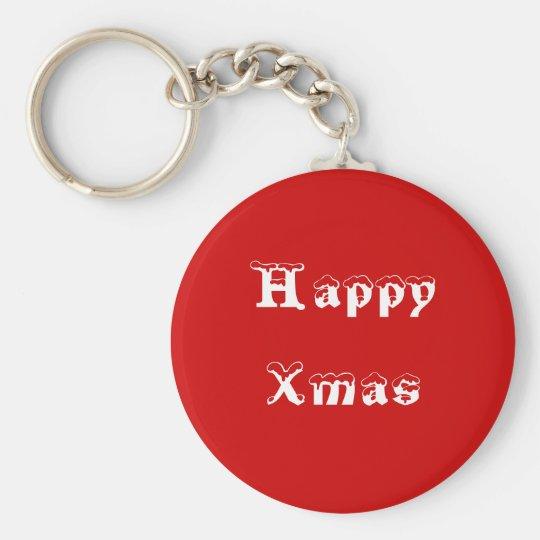 Happy Xmas. Red and White. Custom Basic Round Button Key Ring