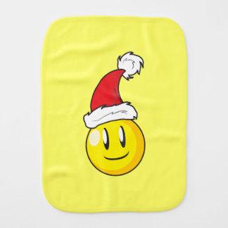 Happy Yellow Billiard Ball Christmas Red Santa Hat Burp Cloth