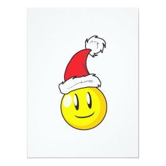 Happy Yellow Billiard Ball Christmas Red Santa Hat Custom Announcements