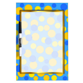 HAPPY YELLOW BLUE BUBBLES WRITING BOARD DRY ERASE WHITE BOARD