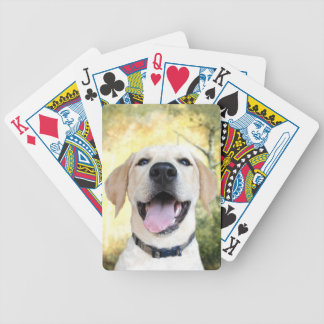 Happy yellow lab bicycle poker deck