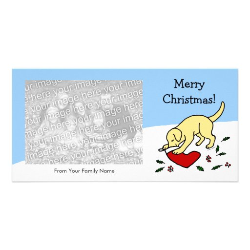 Happy Yellow Lab Christmas Cartoon Photocards Photo Card Template