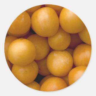 Happy Yellow Plums Classic Round Sticker