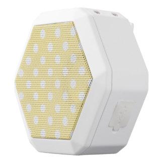 Happy ,yellow,polka dot,white,girly,country,chic, white boombot rex bluetooth speaker