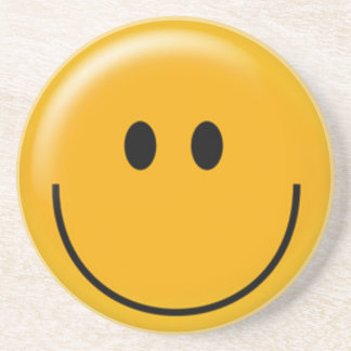 Happy yellow smiley face coaster