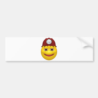 Happy yellow smiley miner wearing a miners hat bumper sticker