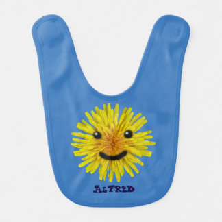 Happy Yellow Summer Dandelion Flower on any Color Baby Bibs