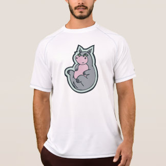 Happy Young Gray Hippo Drawing Design T-shirts