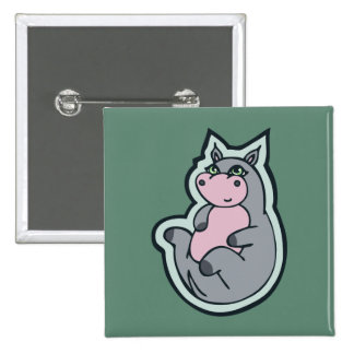 Happy Young Gray Hippo Teal Drawing Design 15 Cm Square Badge