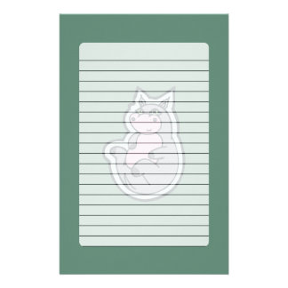 Happy Young Gray Hippo Teal Drawing Design Customised Stationery