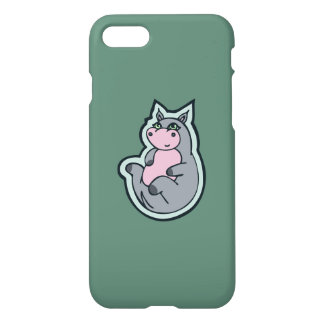 Happy Young Gray Hippo Teal Drawing Design iPhone 7 Case