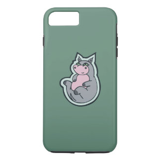 Happy Young Gray Hippo Teal Drawing Design iPhone 7 Plus Case