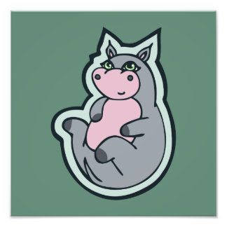 Happy Young Gray Hippo Teal Drawing Design Photo