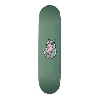 Happy Young Gray Hippo Teal Drawing Design Skateboard