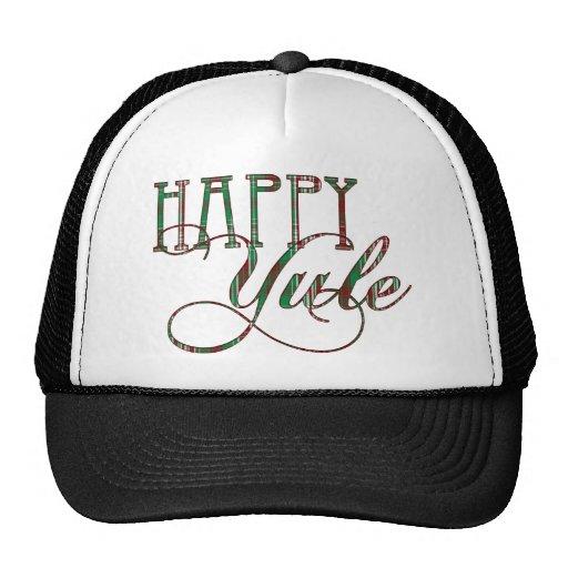 Happy Yule Plaid Hat